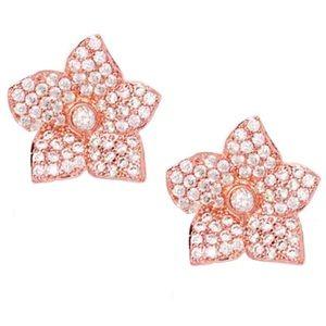 Kate Spade Rose Gold Bloom Pavé Crystal Earrings